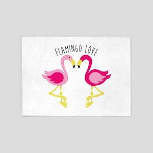 Flamingo Love 5'x7'Area Rug