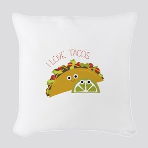 I Love Tacos Woven Throw Pillow
