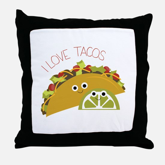 I Love Tacos Throw Pillow