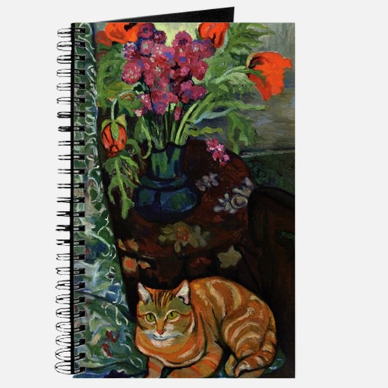 Cat Lying in Front of a Bouquet of Flowers Journal