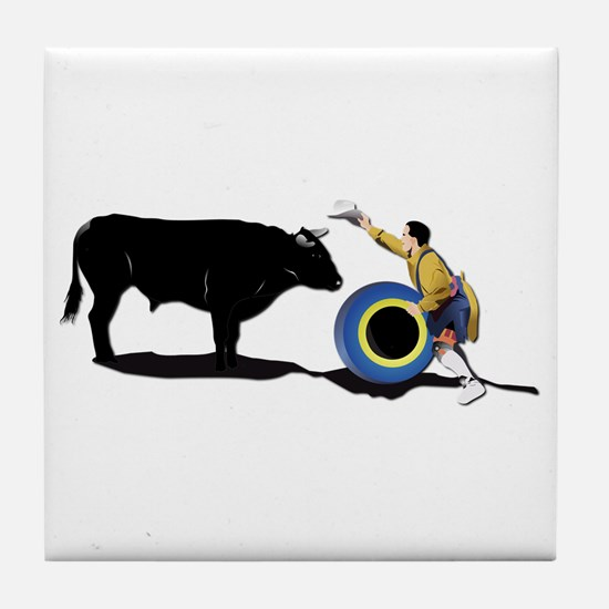 Clown and Bull-No-Text Tile Coaster