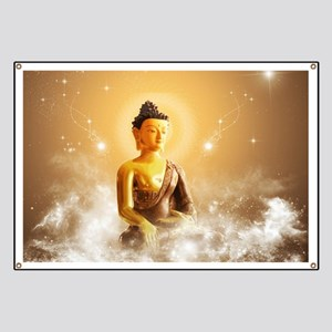 Buddha with clouds and stars Banner