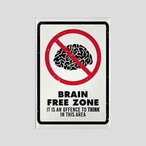 Brain Free Zone Rectangle Magnet