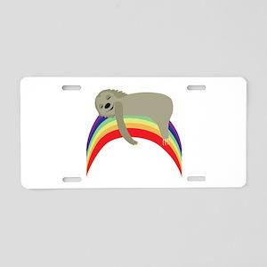 Sloth On Rainbow Aluminum License Plate