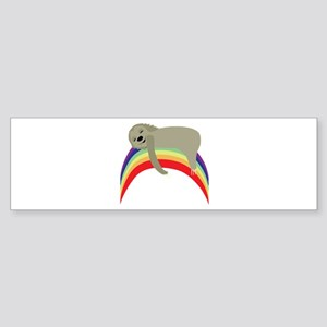 Sloth On Rainbow Bumper Sticker