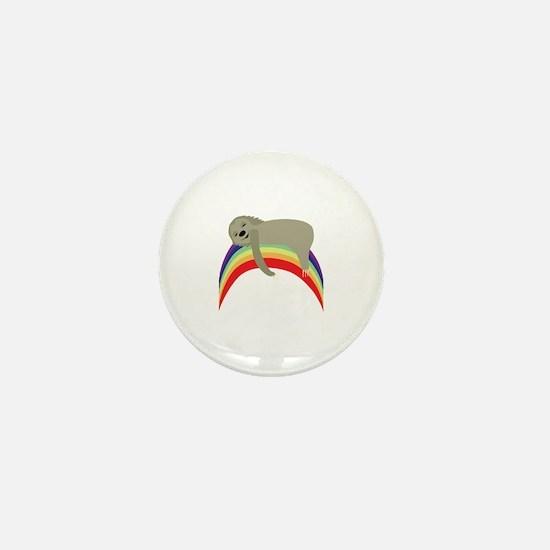 Sloth On Rainbow Mini Button