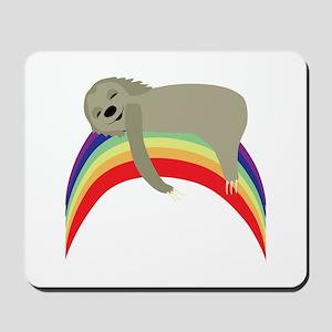 Sloth On Rainbow Mousepad