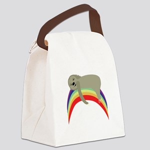 Sloth On Rainbow Canvas Lunch Bag