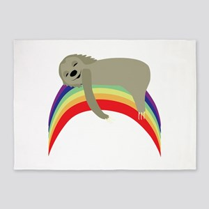 Sloth On Rainbow 5'x7'Area Rug