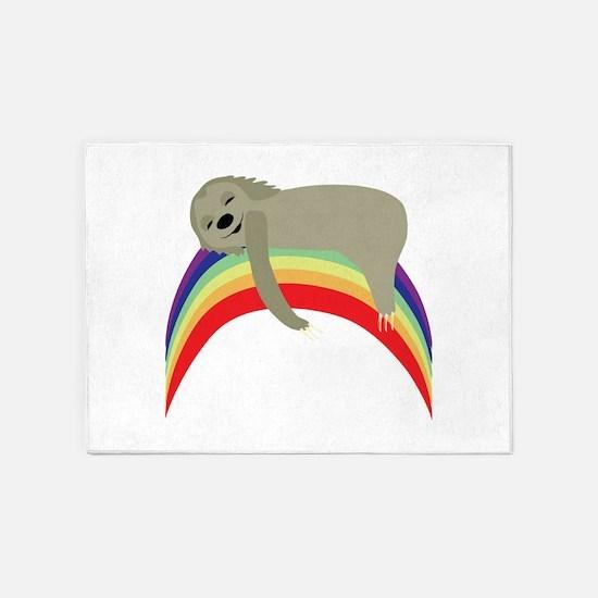 Sloth On Rainbow 5'x7'Area Rug