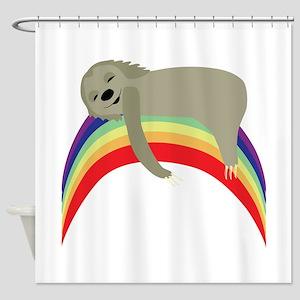 Sloth On Rainbow Shower Curtain