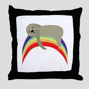 Sloth On Rainbow Throw Pillow