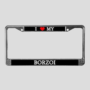 Love Borzoi License Plate Frame