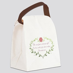 Proverbs 31: 10 - Green/Pink Canvas Lunch Bag