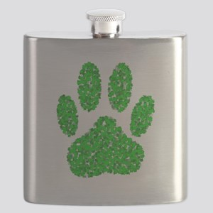 Green Foliage Dog Paw Print Flask