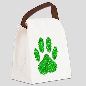 Green Foliage Dog Paw Print Canvas Lunch Bag