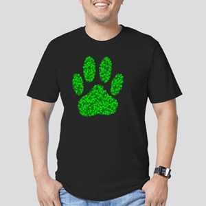 Green Foliage Dog Paw  Men's Fitted T-Shirt (dark)