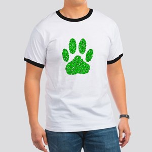 Green Foliage Dog Paw Print Ringer T