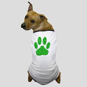 Green Foliage Dog Paw Print Dog T-Shirt