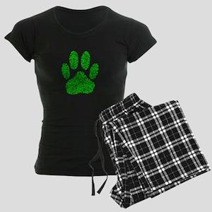 Green Foliage Dog Paw Print Women's Dark Pajamas
