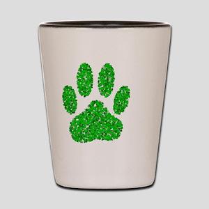 Green Foliage Dog Paw Print Shot Glass