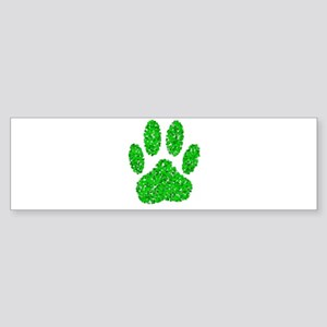 Green Foliage Dog Paw Print Bumper Sticker