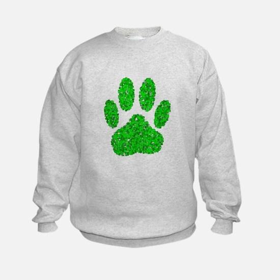 Green Foliage Dog Paw Print Sweatshirt