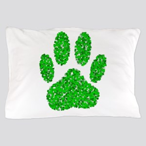 Green Foliage Dog Paw Print Pillow Case