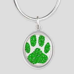 Green Foliage Dog Paw Print Necklaces