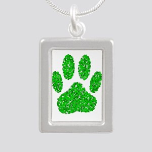 Green Foliage Dog Paw Print Necklaces
