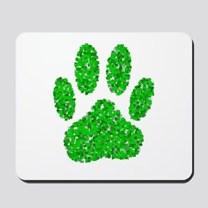 Green Foliage Dog Paw Print Mousepad