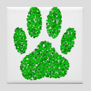 Green Foliage Dog Paw Print Tile Coaster