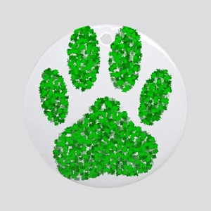Green Foliage Dog Paw Print Ornament (Round)