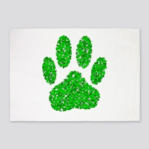 Green Foliage Dog Paw Print 5'x7'Area Rug
