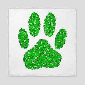 Green Foliage Dog Paw Print Queen Duvet