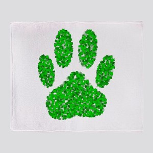 Green Foliage Dog Paw Print Throw Blanket