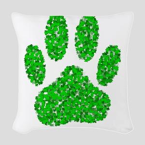 Green Foliage Dog Paw Print Woven Throw Pillow