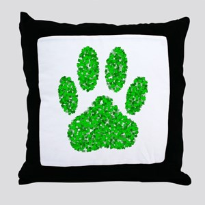 Green Foliage Dog Paw Print Throw Pillow