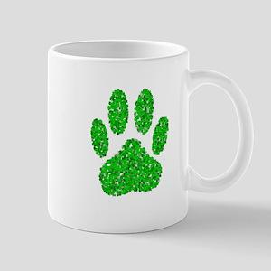 Green Foliage Dog Paw Print Mugs