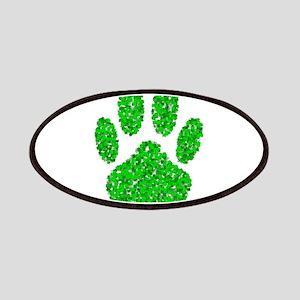 Green Foliage Dog Paw Print Patch