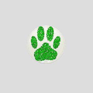 Green Foliage Dog Paw Print Mini Button