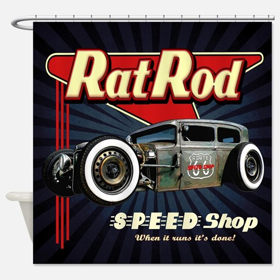 Rat Rod Speed Shop 2 Shower Curtain