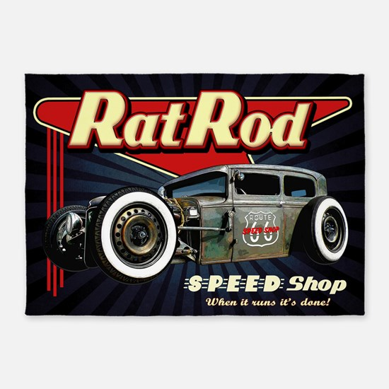 Rat Rod Speed Shop 2 5'x7'Area Rug