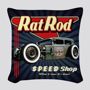 Rat Rod Speed Shop 2 Woven Throw Pillow
