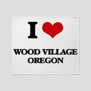 I love Wood Village Oregon Throw Blanket