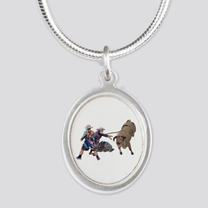 Clowns and Bull-2 without Tex Silver Oval Necklace