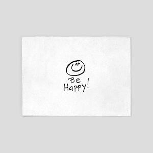 Be Happy! 5'x7'Area Rug