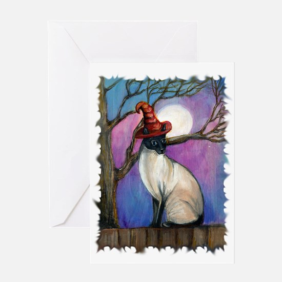Siamese Witch Kitty Cat Greeting Card