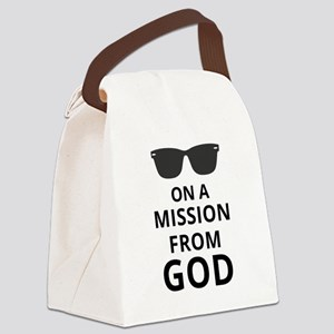 On A Mission From God Canvas Lunch Bag