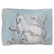 Winter Robins And Unicorns Pillow Sham